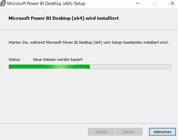 Installation-Power-BI-desktop-Installationsfortschritt