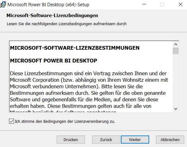Installation-Power-Bi-desktop-Lizenzvereinbarung